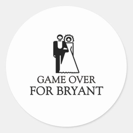 Juego encima para Bryant Pegatina Redonda
