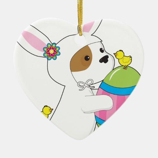 Juego lindo del conejito del perrito adorno navideño de cerámica en forma de corazón