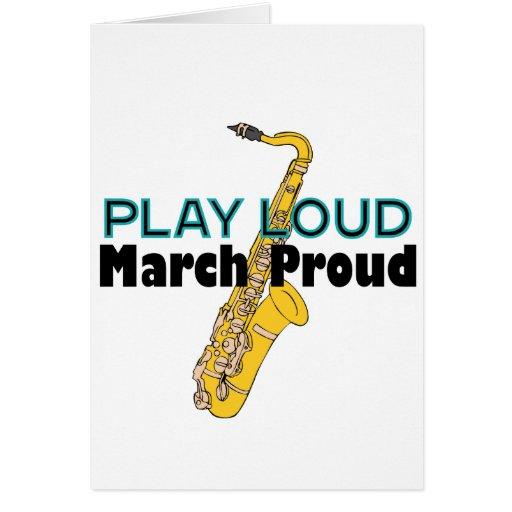 Juego marzo ruidoso orgulloso tarjetón