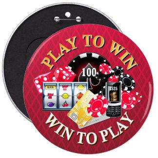 Juego para ganar opciones de los botones pin redondo de 6 pulgadas
