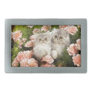 Juego persa de los gatitos en flores rosadas hebillas de cinturon rectangulares