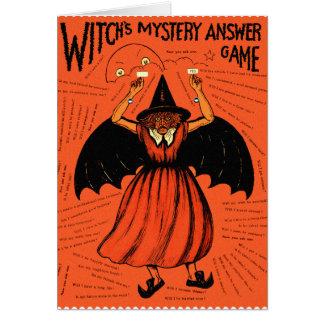Juego retro del misterio de las brujas del vintage tarjeta de felicitación