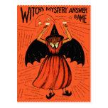 Juego retro del misterio de las brujas del vintage tarjeta postal