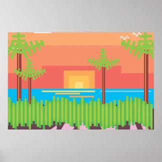 Juego retro - puesta del sol tropical posters