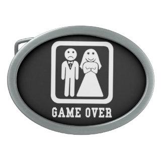Juego sobre la boda apenas casada hebilla de cinturón oval