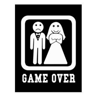 Juego sobre la boda apenas casada tarjeta postal