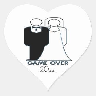 Juego sobre pares de la boda del boda pegatina en forma de corazón