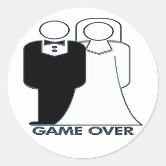 Juego sobre pares de la boda del boda pegatina redonda