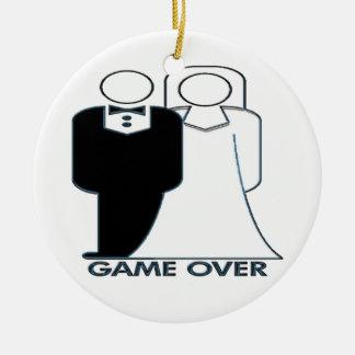 Juego sobre su ornamento que se casa casado adorno navideño redondo de cerámica