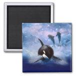 Juego soñador de la ballena y de los delfínes imán de frigorífico