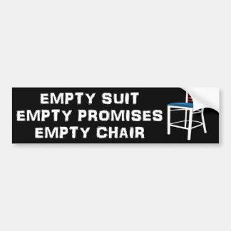 Juego vacío - promesas - silla - Obama anti Pegatina Para Auto