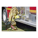 Juego y camión contraincendios del bombero felicitaciones