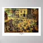"""Juegos"""" - 1560 de los niños de Pieter Bruegel los  Impresiones"""