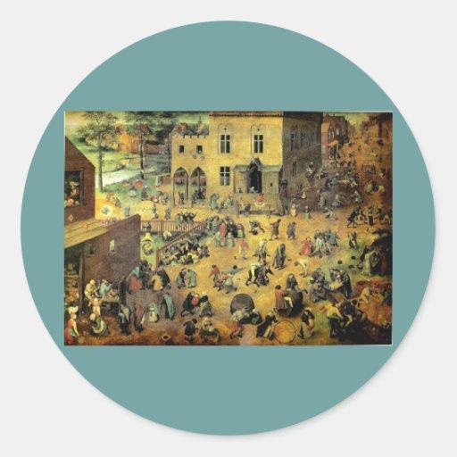 """Juegos"""" - 1560 de los niños de Pieter Bruegel los Pegatina Redonda"""