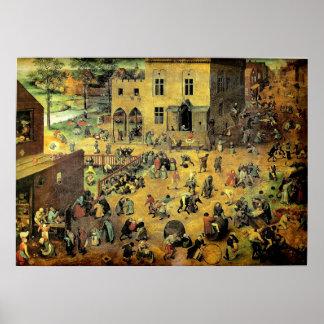 """Juegos"""" - 1560 de los niños de Pieter Bruegel los  Póster"""