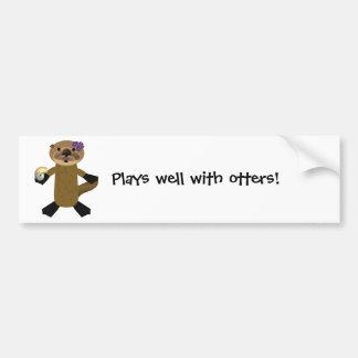 ¡Juegos bien con las nutrias! Pegatina De Parachoque
