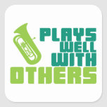 Juegos bien con otros - tuba calcomanías cuadradass