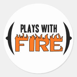 Juegos con el fuego pegatinas redondas