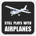 Juegos con los aeroplanos pegatina cuadrada