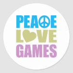 Juegos de amor de la paz pegatinas redondas