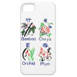Juegos de la flor de Mahjong, azul, rojo, verde, n iPhone 5 Case-Mate Cárcasas