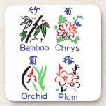 Juegos de la flor de Mahjong, azul, rojo, verde, n Posavasos De Bebidas