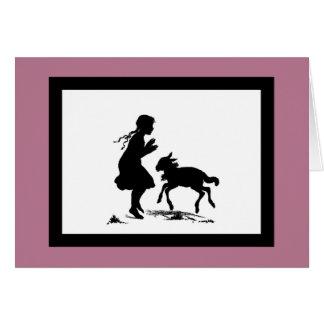 Juegos de la niña con el cordero tarjeta de felicitación