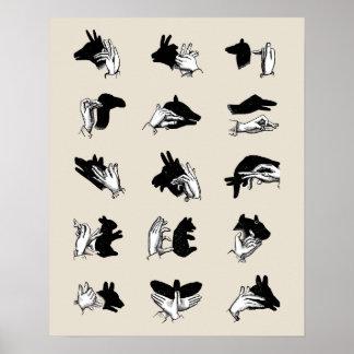 Juegos de la sombra de la marioneta de mano del poster
