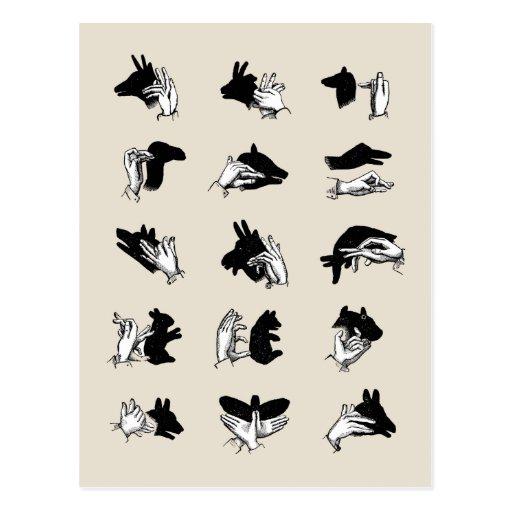 Juegos de la sombra de la marioneta de mano del postales