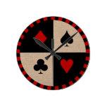 Juegos de la tarjeta de ficha de póker reloj redondo mediano