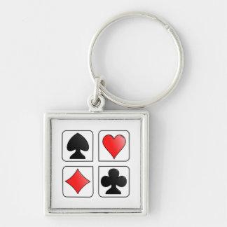 Juegos de las tarjetas, diamantes, espadas, llavero cuadrado plateado