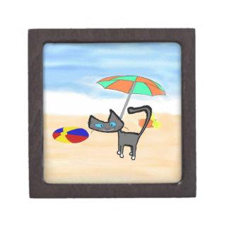 Juegos del gatito en la playa cajas de joyas de calidad