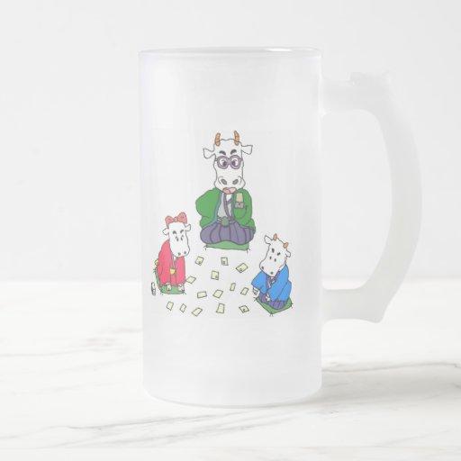 Juegos divertidos de la vaca del póker tazas de café