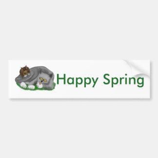 Juegos grises del gatito con su conejito PAL Pegatina Para Auto