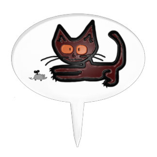 Juegos lindos del gato del gatito de Brown con el  Figura De Tarta