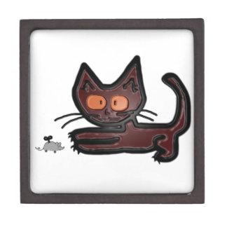 Juegos lindos del gato del gatito de Brown con el  Caja De Recuerdo De Calidad