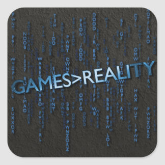 Juegos mayores que realidad pegatina cuadrada