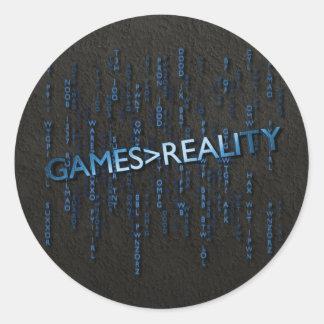Juegos mayores que realidad pegatina redonda