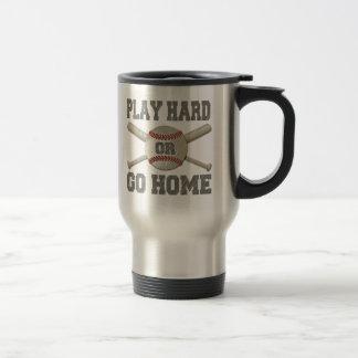 Juegue difícilmente o vaya a casa taza de viaje de acero inoxidable