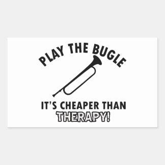 Juegue el bugle pegatina rectangular