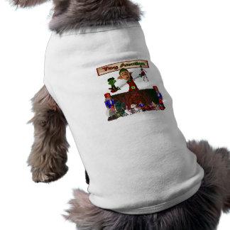 Juegue el duende de la subasta que sostiene los ju playera sin mangas para perro