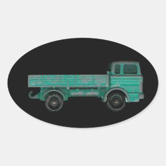 Juegue el plano del vintage de la foto del camión pegatinas ovaladas