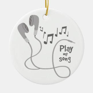 Juegue mi canción adorno navideño redondo de cerámica
