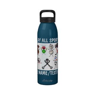 Juegue todo el dibujo animado de los deportes botella de agua