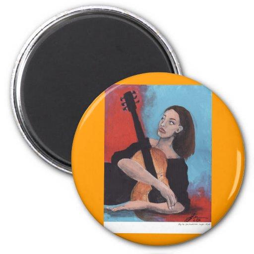 Juegúeme (el chica con la guitarra) imán redondo 5 cm