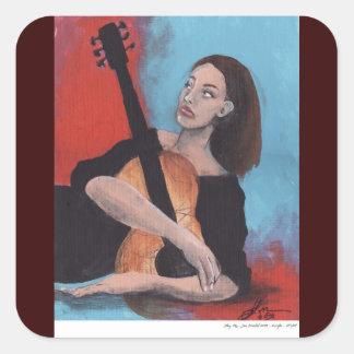 Juegúeme (el chica con la guitarra) pegatina cuadrada