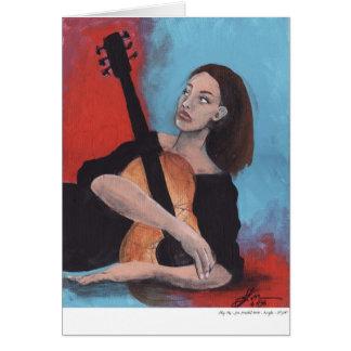 Juegúeme (el chica con la guitarra) tarjeta de felicitación