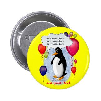 Juerguista del pingüino pin redondo 5 cm