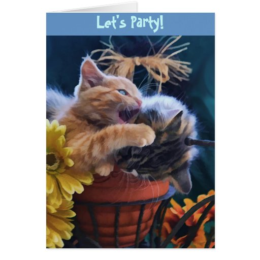 Juerguista, gatitos lindos Roughhousing del gato Tarjeta De Felicitación