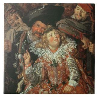 Juerguistas de Shrovetide (los Merry Company) c.16 Azulejo Cuadrado Grande